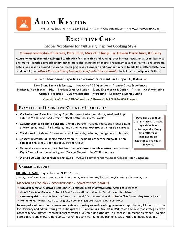 Award Nominated Executive Chef Sample Resume   Executive Resume Writer.  Resume Writing Business