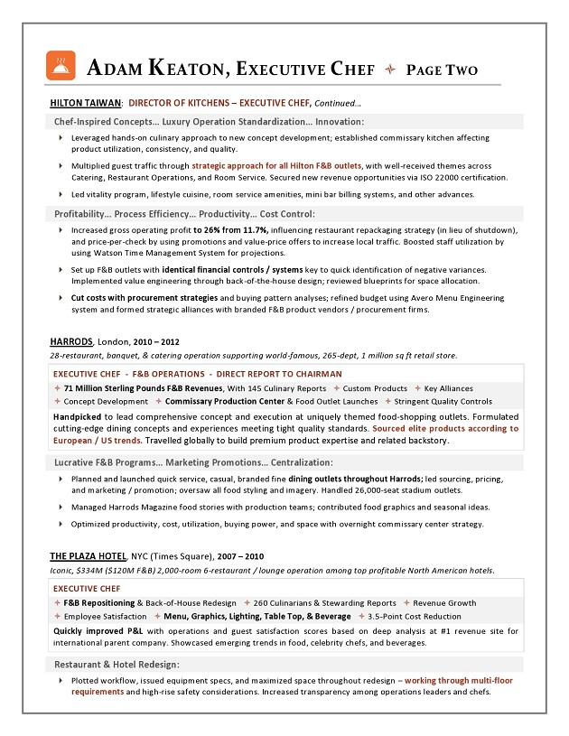 sample resume executive chef position