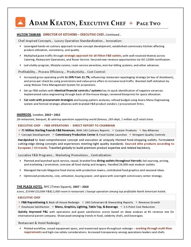 Award Nominated Executive Chef Sample Resume Executive resume