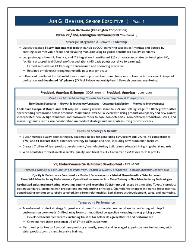 Award Winning Ceo Amp Board Advisor Sample Resume