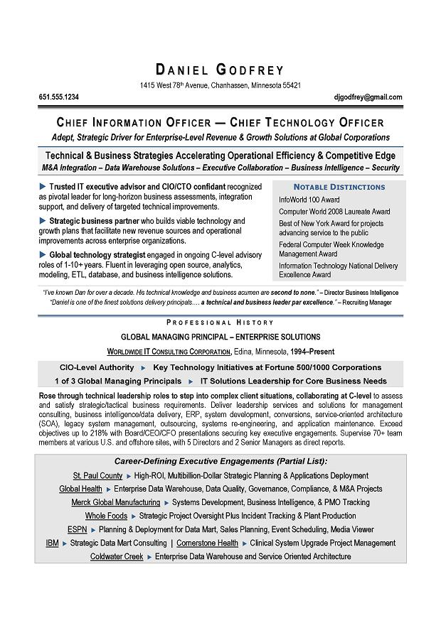 Cio  Cto Sample Resume By AwardWinning Executive Resume Writer