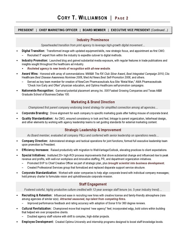 the result is a branded masterpiece resume that speaks to your leadership capabilities as demonstrated by this award winning marketing resume example - Vice President Marketing Resume