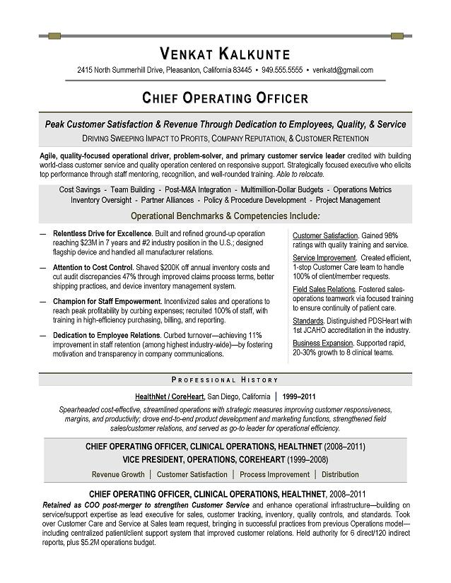 COO Sample Resume - Executive resume writer for Technology ...