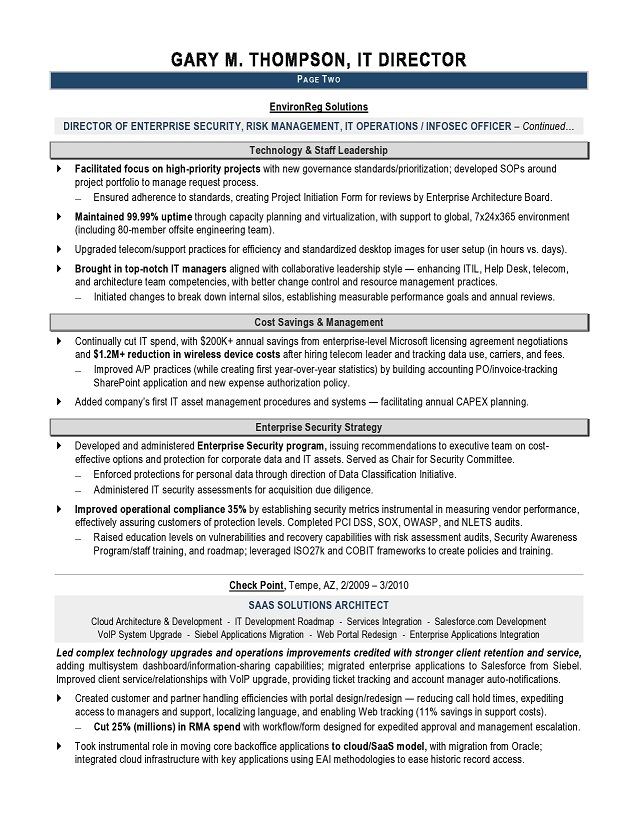 it manager resume example technical resume for it manager page 2