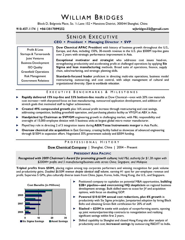 CEO sample resume; award winning resume writer serving Chicago ...