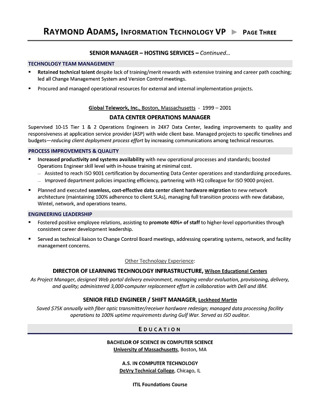 VP of IT Resume - IT Director Resume - Executive resume writer for ...
