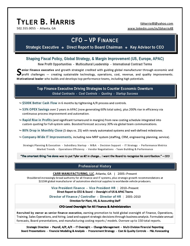 Sample VP Finance CFO Resume by AwardWinning Writer Laura Smith