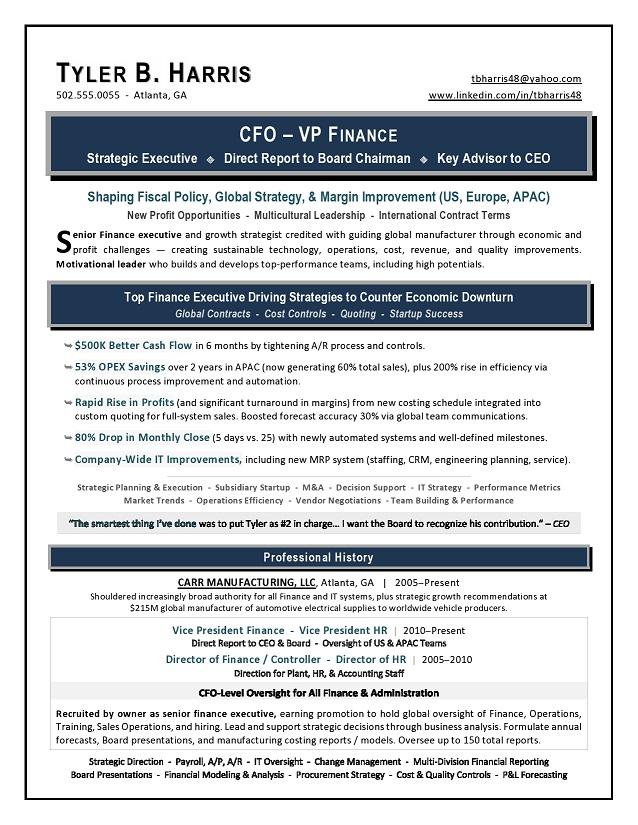 Sample Vp Finance Cfo Resume By Award Winning Writer Laura Smith