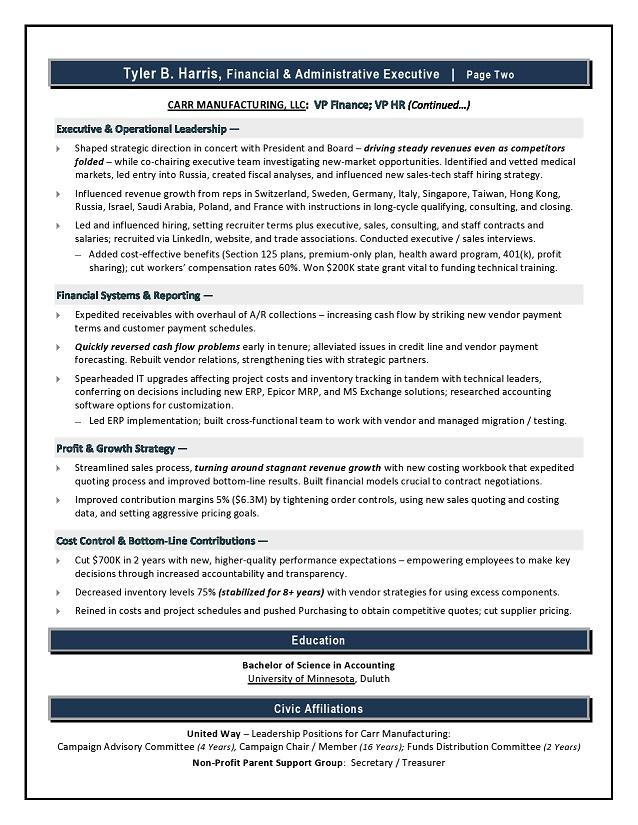 finance sample resume