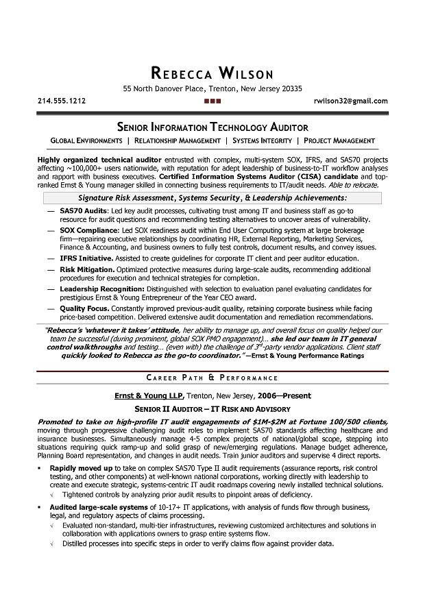 senior it auditor compliance sample resume resume writer