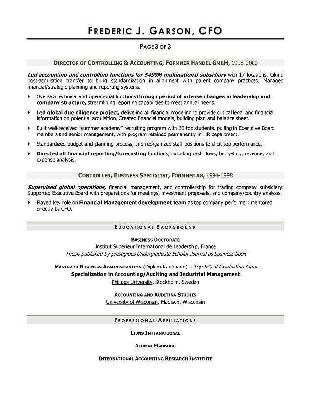 Cfo Resume Samples  Sample Resume And Free Resume Templates