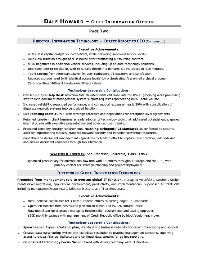 cio sample resume  chief information officer resume  it resume service  u0026 executive resume service