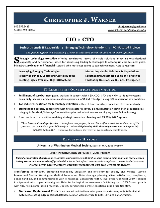 sample cio resume from executive resume writer  u0026 it resume