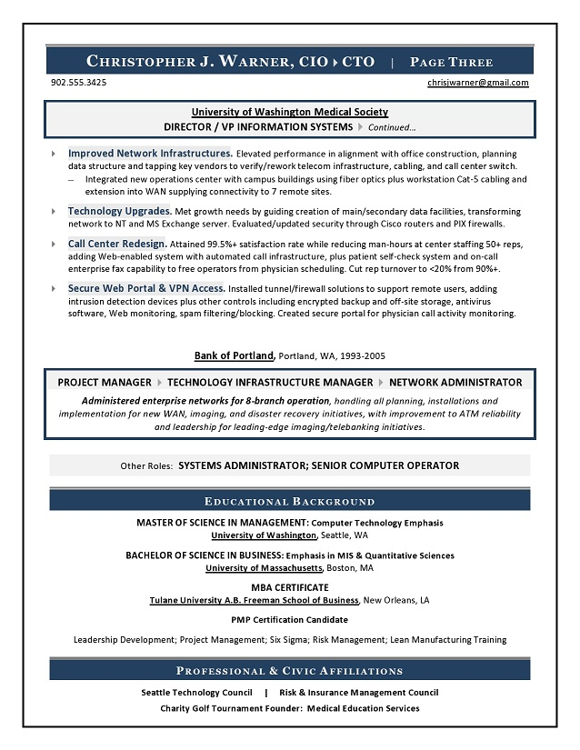 Sample CIO Resume from Executive Resume Writer & IT Resume Writer