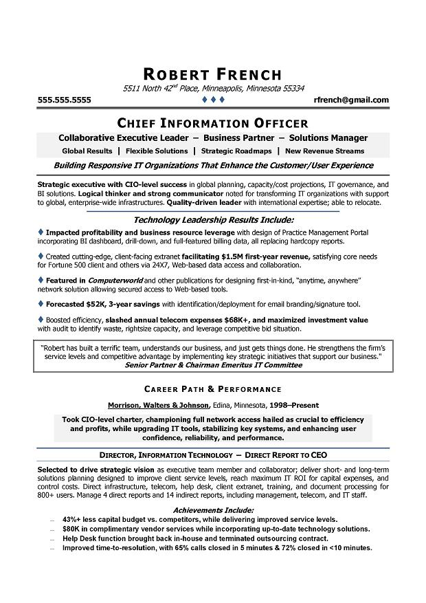 CIO Sample Resume - Chief Information Officer Resume - IT Executive ...