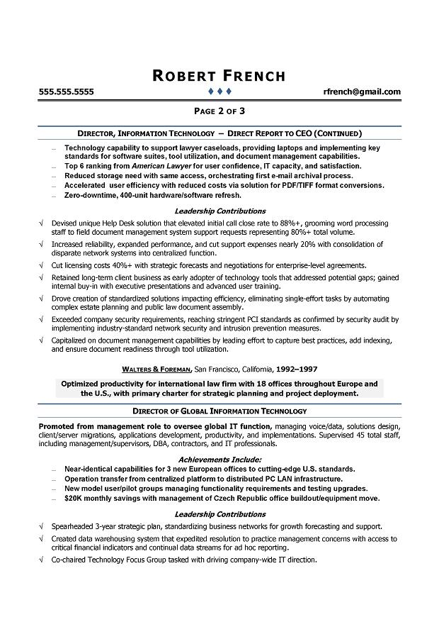 Cio Sample Resume Chief Information Officer Resume It Executive