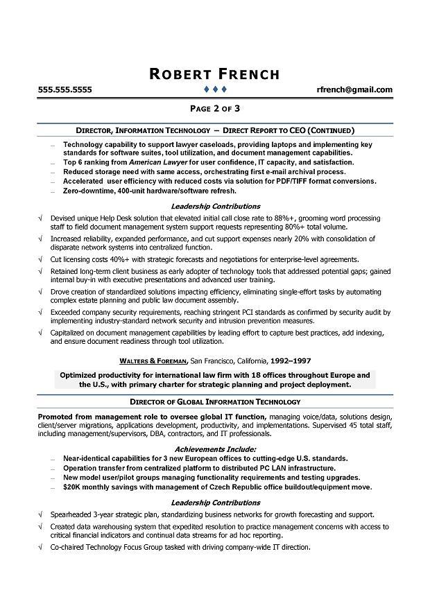 cio sample resume chief information officer resume it executive resume writer