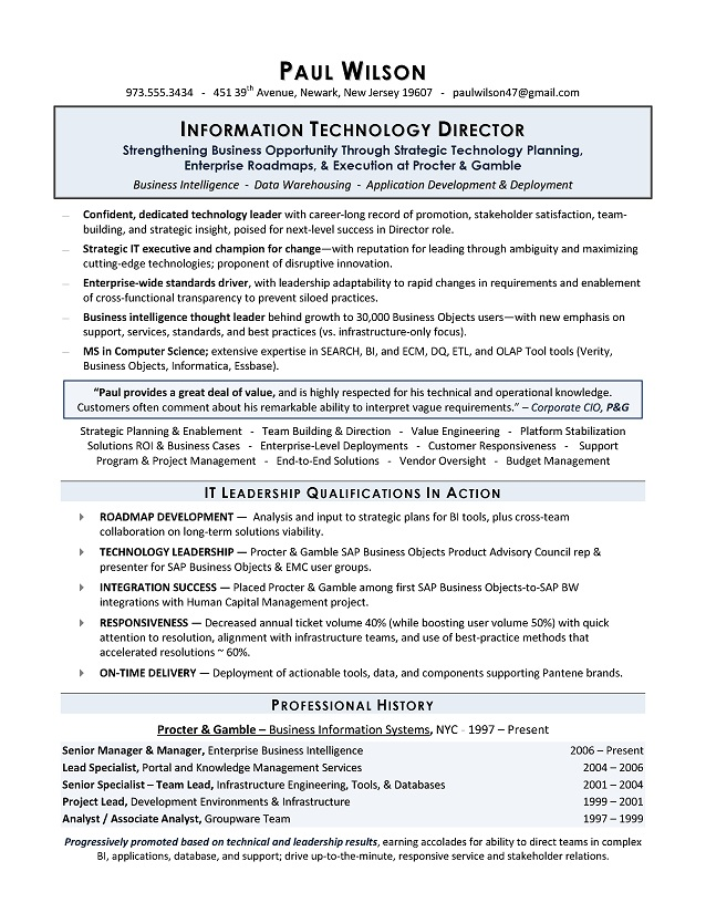 Director Resume Examples. Sample It Director Resume It Director