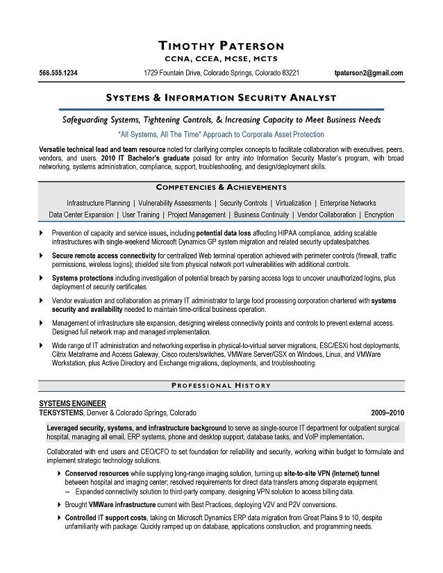 IT Security Analyst Sample Resume - Executive resume writer Raleigh,  Houston, Atlanta, New York.