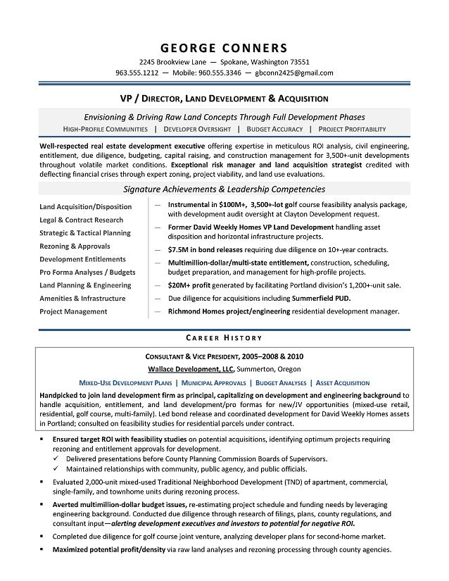 Land Development Manager Sample Resume - Executive resume writer for ...