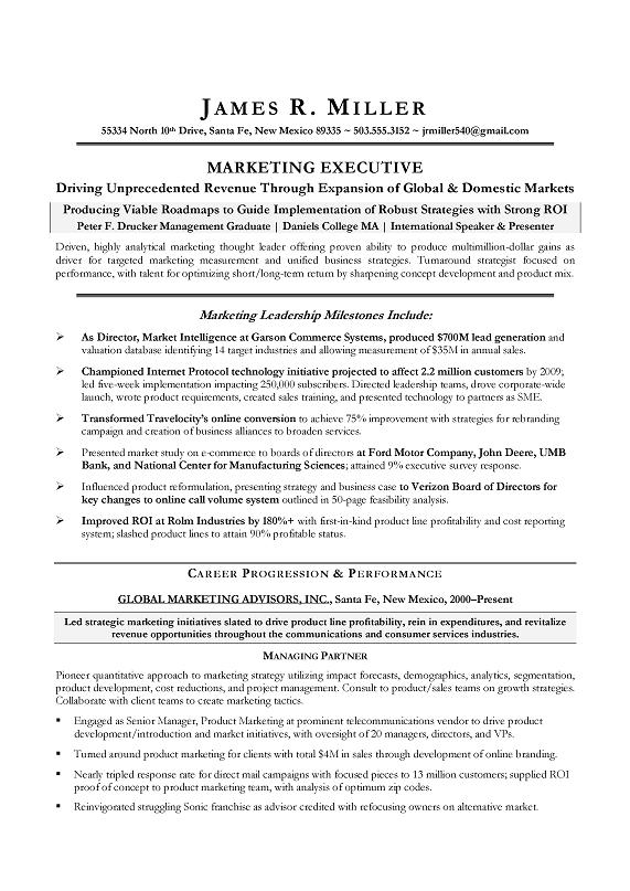 Marketing Director Sample Resume CMO Marketing Sample Resume Executive  Resume Writer.