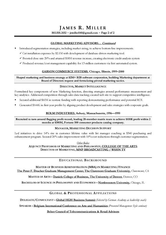marketing director sample resume cmo marketing sample resume executive resume writer