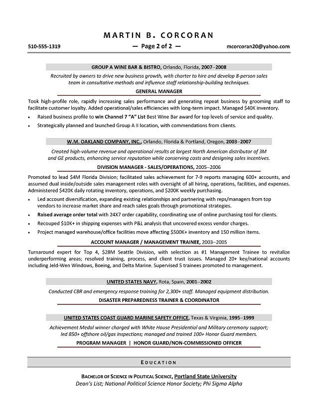 sales manager sample resume executive resume writer for operations