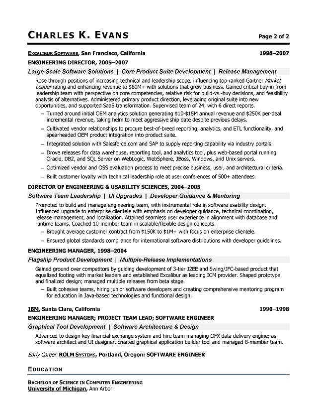 Sample Software Engineer Resume  Software Engineering Resume