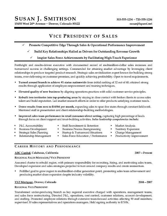 VP Sales Sample Resume - Executive resume writer for VP, Director ...